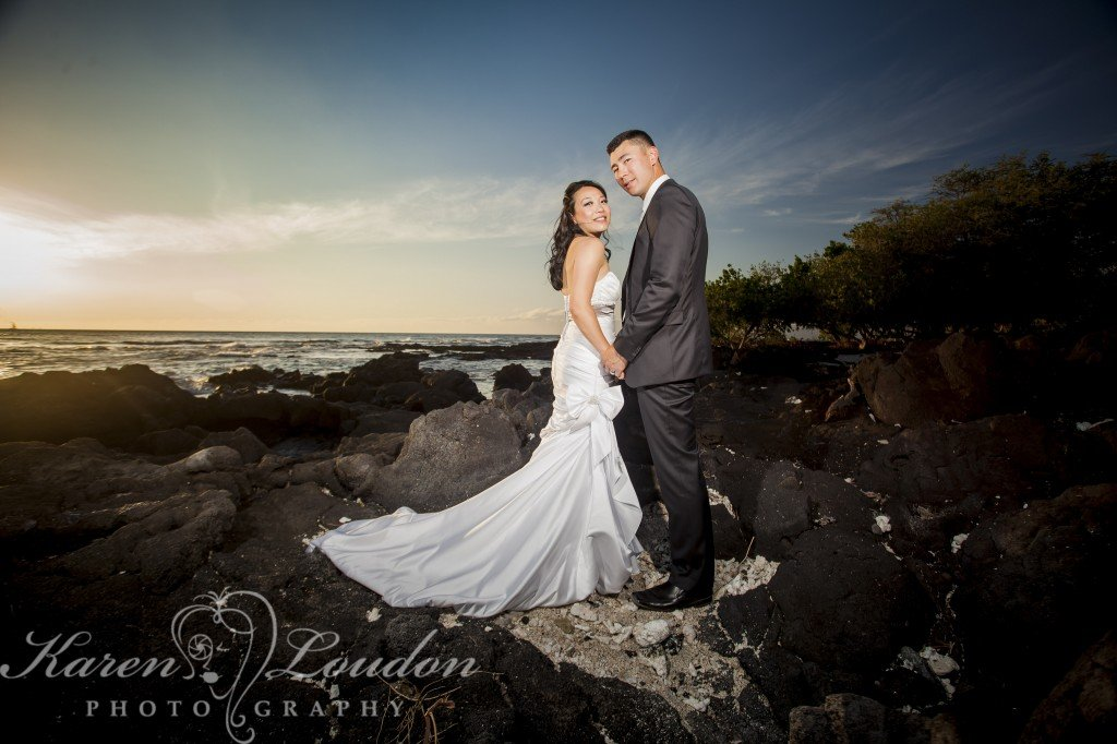 Kona wedding on lava rock