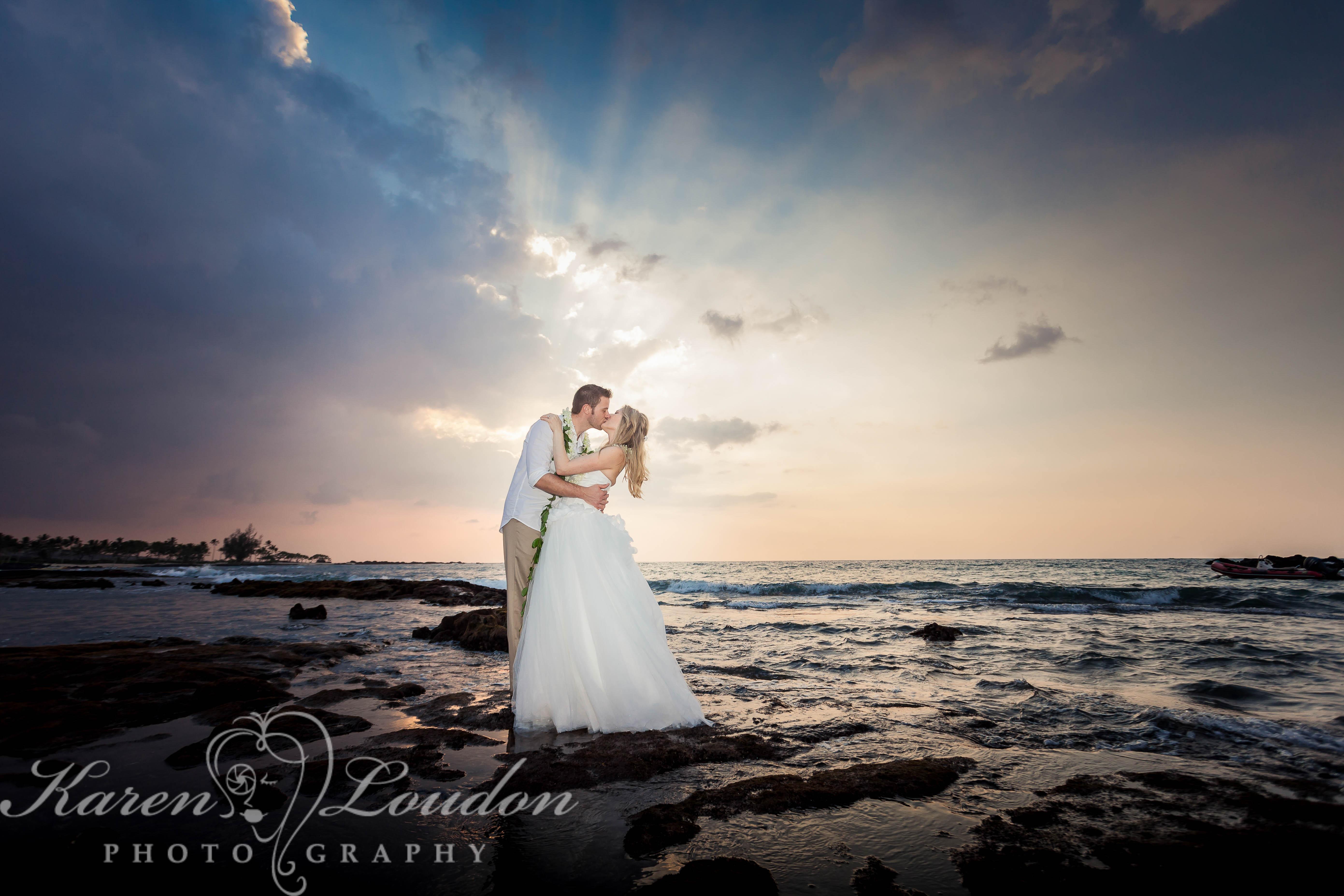 Kukio Beach Sunset Wedding Photographer